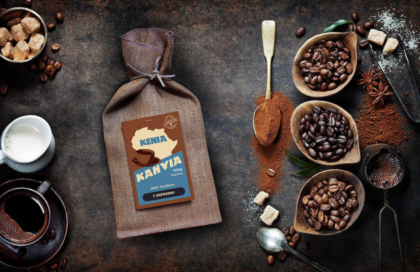 Timbuktun takana Kenia-kahvia juuttipussissa